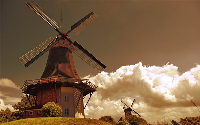 windmills in the netherlands-Vintage style wallpaper Views:14245