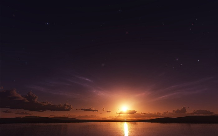 stars and sunset-Nature Wallpapers Views:5649