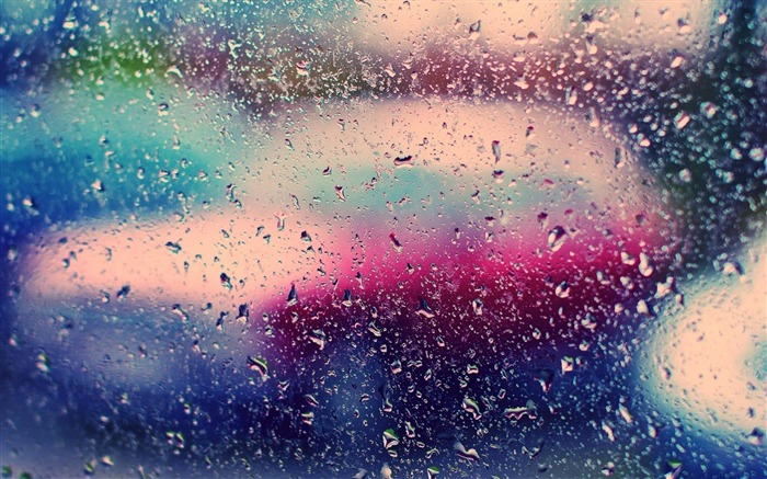 Glass Rain Droplets Colorful-High Quality wallpaper Views:21019
