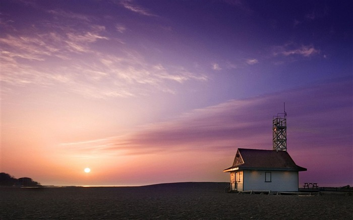 Lifeguard House Sunset-Nature Landscape Wallpapers Views:6084
