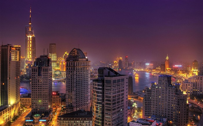 Shanghai Night view China-City photography wallpaper Views:25670