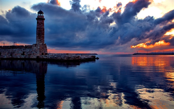 lighthouse at sunset-Nature Landscape Wallpapers Views:5783
