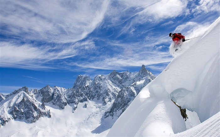 mountain Skiing-Nature Landscape Wallpapers Views:20281