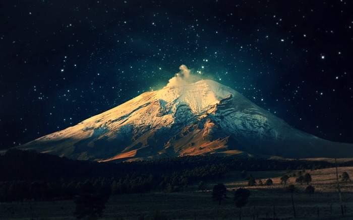 snowy mountain starry sky-Nature Wallpapers Views:65158