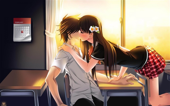 Cute Anime Couple Picture Desktop Wallpaper Views:24996