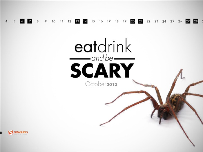 Eat Drink And Be Scary-October 2012 calendar wallpaper Views:7803