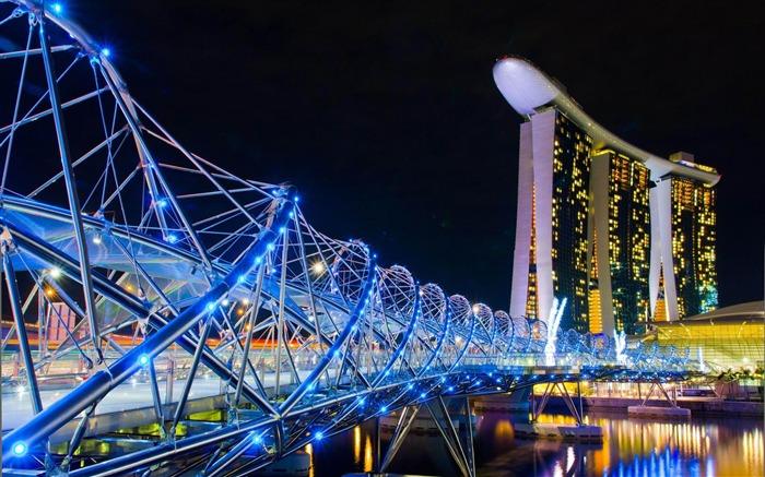 Marina Bay Sands Lamp Night Singapore-architectural landscape wallpaper Views:21297