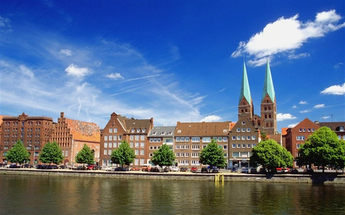 Trave River Germany-architectural landscape wallpaper Views:4008