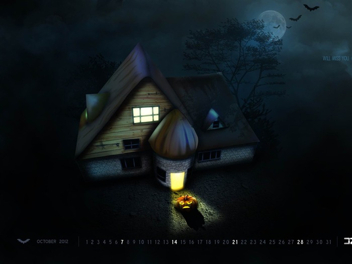 Will Miss You On This Halloween-October 2012 calendar wallpaper Views:4426