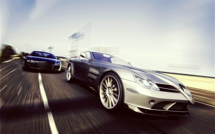 mercedes benz slr vs audi r8-2012 luxury car HD wallpaper Views:8681