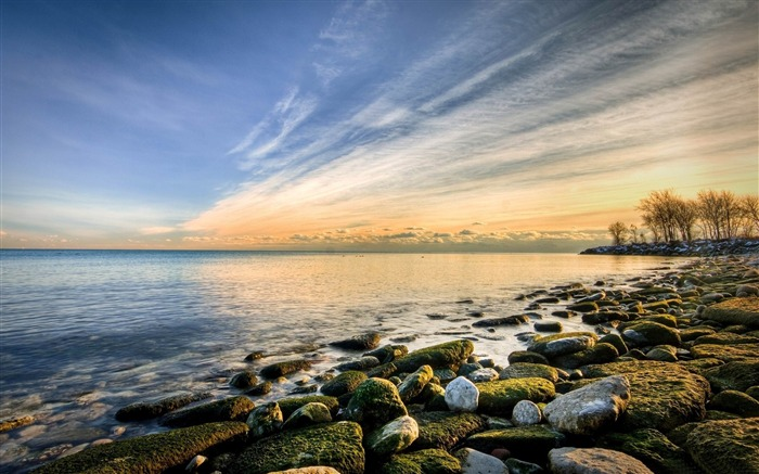 beach rocks-winter natural landscape wallpaper Views:3995