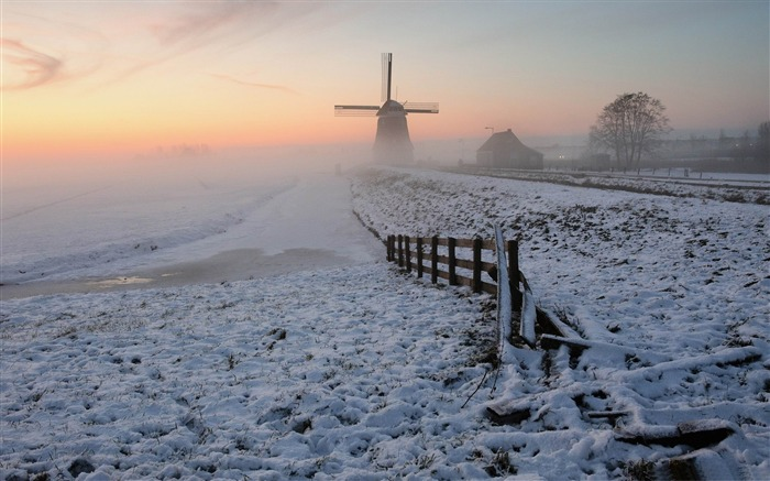 foggy winter morning-winter natural landscape wallpaper Views:5467