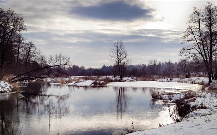 river winter scenery-winter natural landscape wallpaper Views:4217