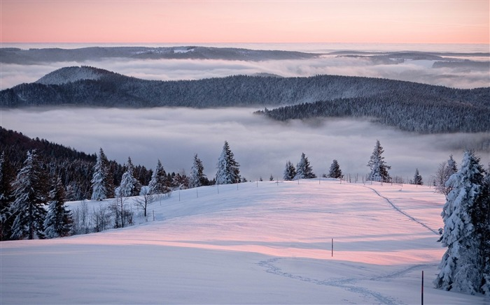 sea of clouds-winter natural landscape wallpaper Views:3878