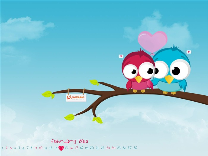 Everyday Should Be Valentines Day-February 2013 calendar desktop themes wallpaper Views:5377