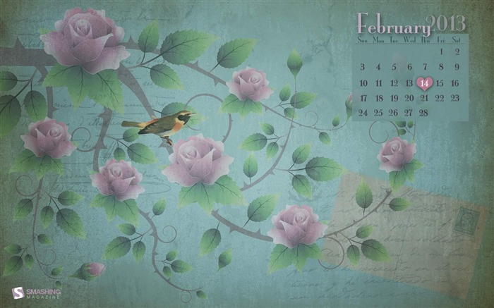 February Flowers-February 2013 calendar desktop themes wallpaper Views:3450