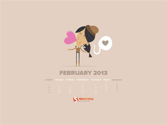 February Theme-February 2013 calendar desktop themes wallpaper Views:3853