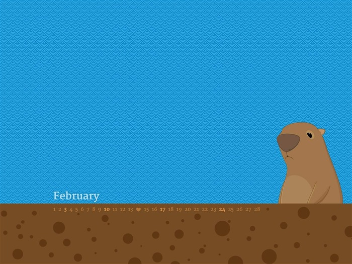 Groundhog-February 2013 calendar desktop themes wallpaper Views:4376