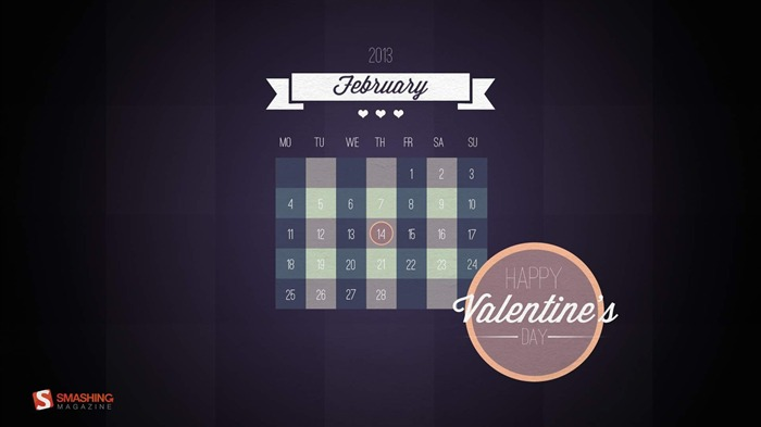 Happy Valentines Day-February 2013 calendar desktop themes wallpaper Views:3216