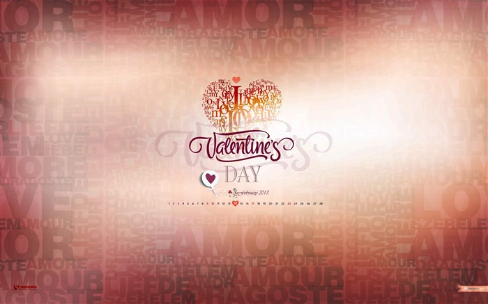 Its Valentines Day-February 2013 calendar desktop themes wallpaper Views:4005