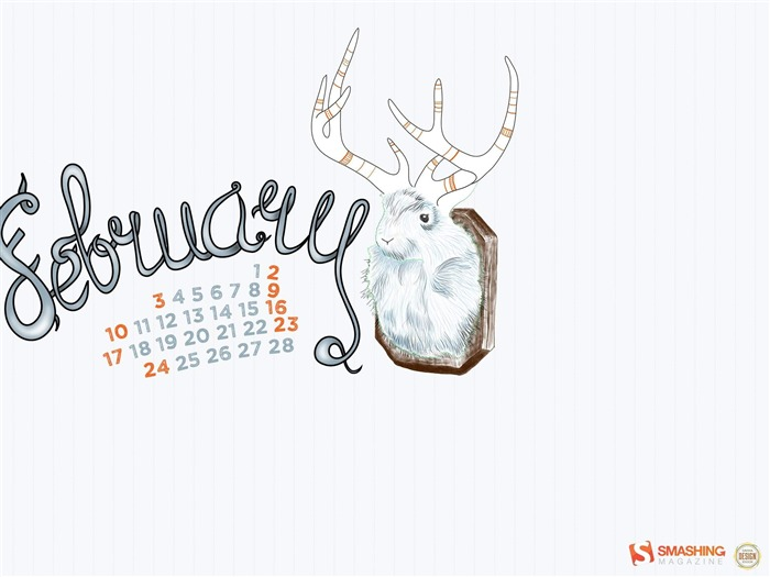 Jackalope-February 2013 calendar desktop themes wallpaper Views:4181