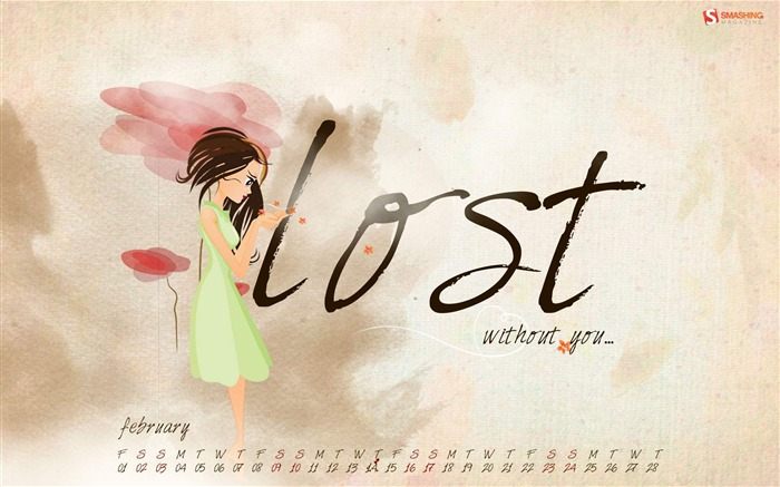 Lost Without You-February 2013 calendar desktop themes wallpaper Views:2675