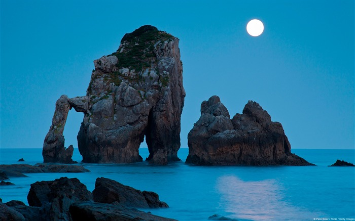 Moonset Spain on the Bay of Biscay-natural landscape HD wallpaper Views:5778