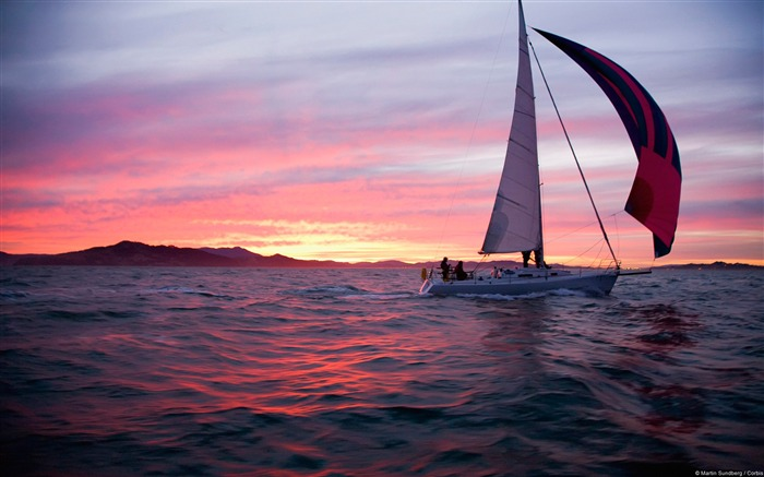 Sailing in San Francisco Bay-natural landscape HD wallpaper Views:5391