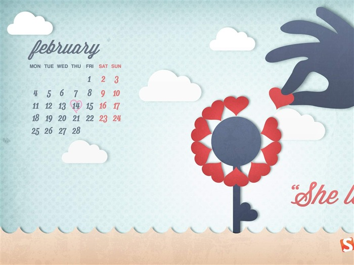She Loves Me-February 2013 calendar desktop themes wallpaper Views:2088