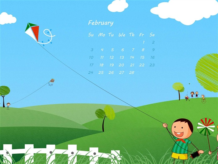 Spring Kites-February 2013 calendar desktop themes wallpaper Views:2599