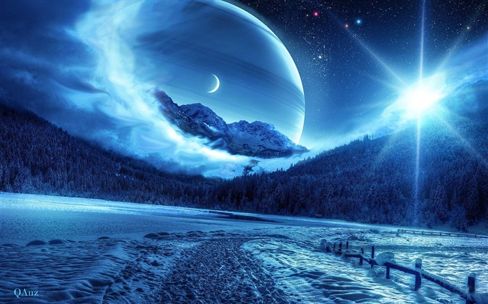 Winter Forest and Blue Space-Universe space HD Desktop Wallpaper Views:9105