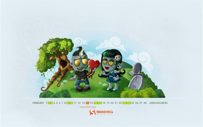 Zombie Love-February 2013 calendar desktop themes wallpaper Views:1761