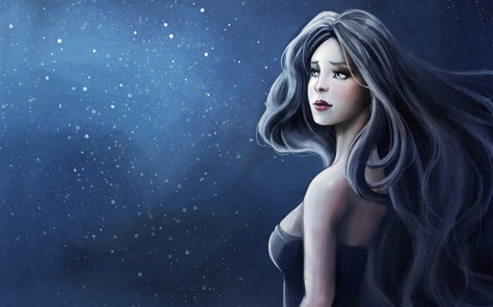 blue haired woman-Fantasy Artistic design Wallpaper Views:6376