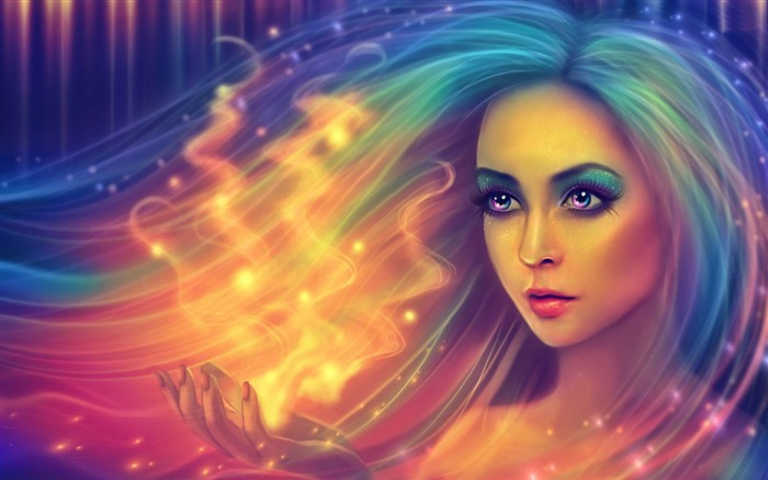 colorful haired girl-Fantasy Artistic design Wallpaper Views:3616