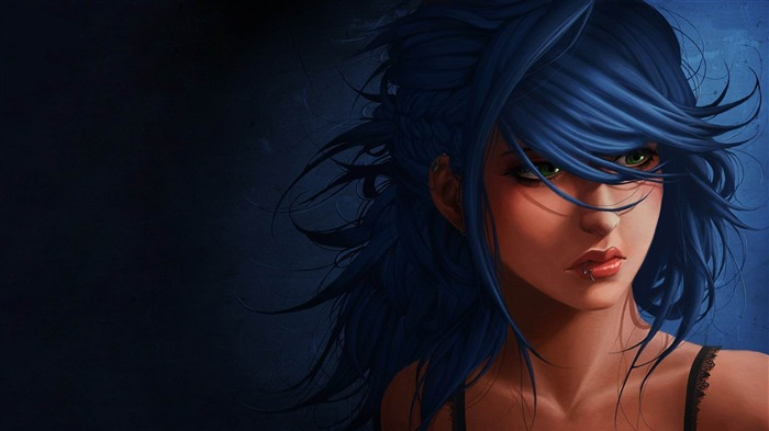 girl with blue hair-Fantasy Artistic design Wallpaper Views:3508