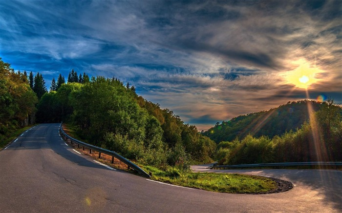 sunny mountain road-Natural scenery HD Wallpaper Views:15422