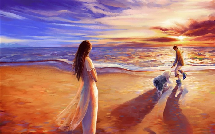 walk on the beach-Drawings creations HD Wallpaper Views:3023