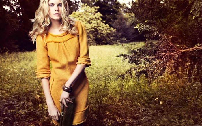 woman in yellow dress-2013 pure beauty photo wallpaper Views:3290