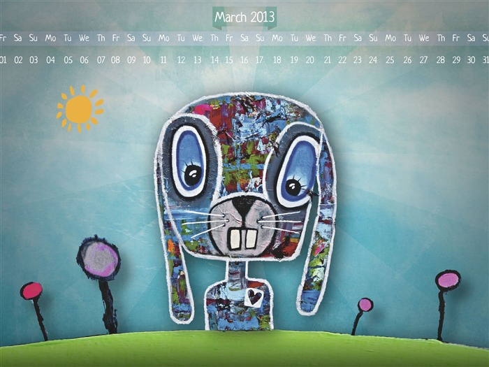Color bunny-March 2013 calendar desktop themes wallpaper Views:4409
