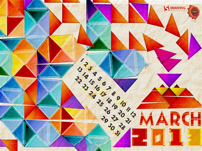 Geometric March-March 2013 calendar desktop themes wallpaper Views:3593