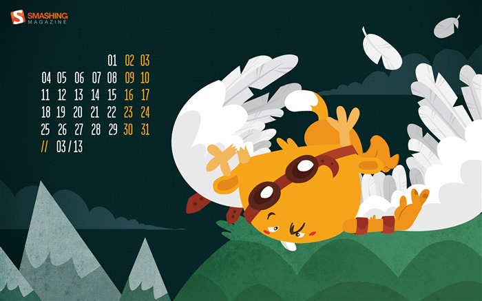 March 2013 calendar desktop themes wallpaper Views:8863