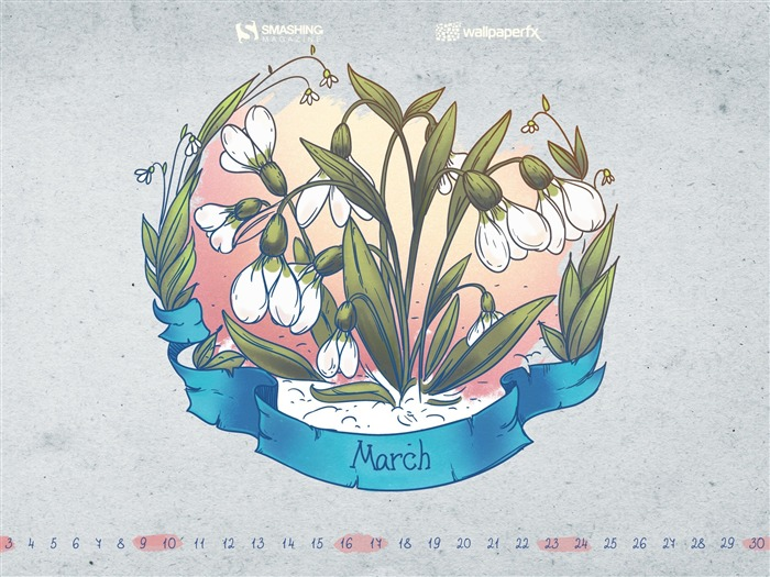 Paper Style-March 2013 calendar desktop themes wallpaper Views:2602