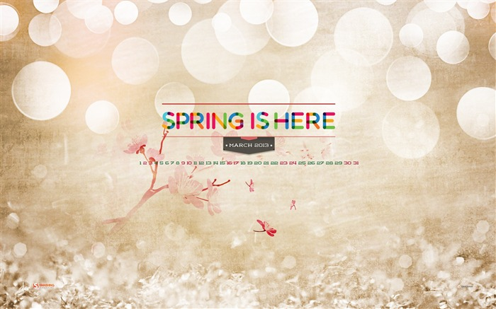 Spring Is Here-March 2013 calendar desktop themes wallpaper Views:2334