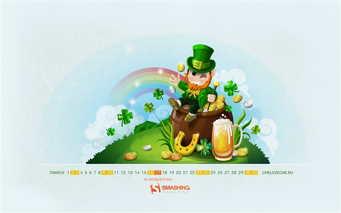 St Patricks Day-March 2013 calendar desktop themes wallpaper Views:6575