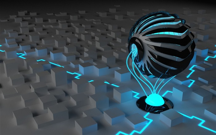 ball light surface neon-3D Creative Design HD wallpaper Views:18682