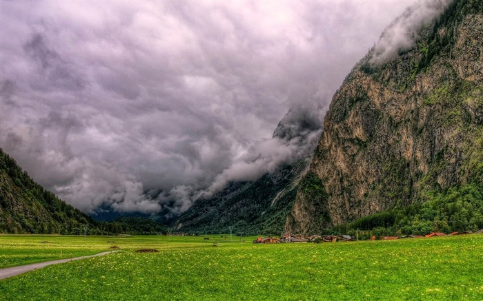clouds dense mountains bottom from below terribly-Natural scenery HD wallpaper Views:2636