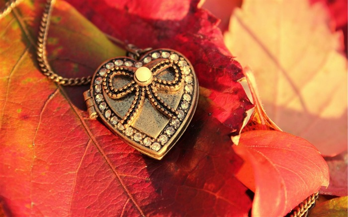 heart pendant leaves-quality Desktop HD wallpaper Views:2694
