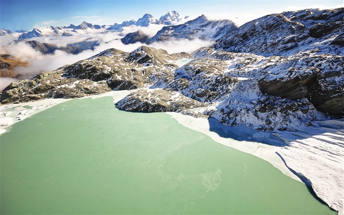 lake mountains ice green-Natural landscape HD wallpaper Views:4028