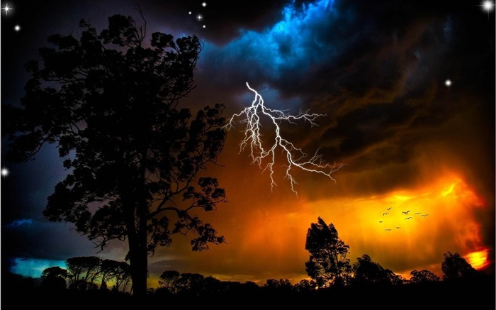 lightning sky trees weather-Natural landscape HD wallpaper Views:8632