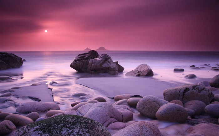 pink haze and stones-beautiful scenic HD wallpaper Views:10441